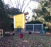 The coop in the fall with Jamey, our second born watching the hens range.